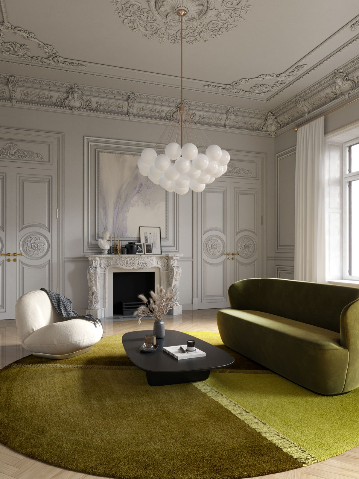 Luxury Parisian appartment with GUBI furniture and Illulian rug