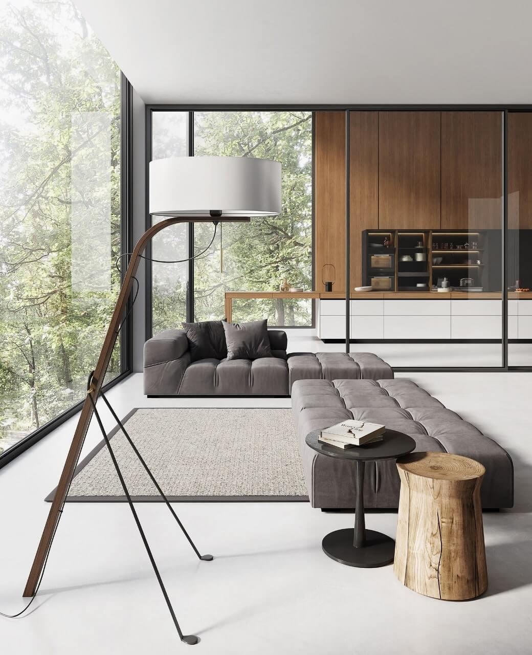 Modern lamp in living room