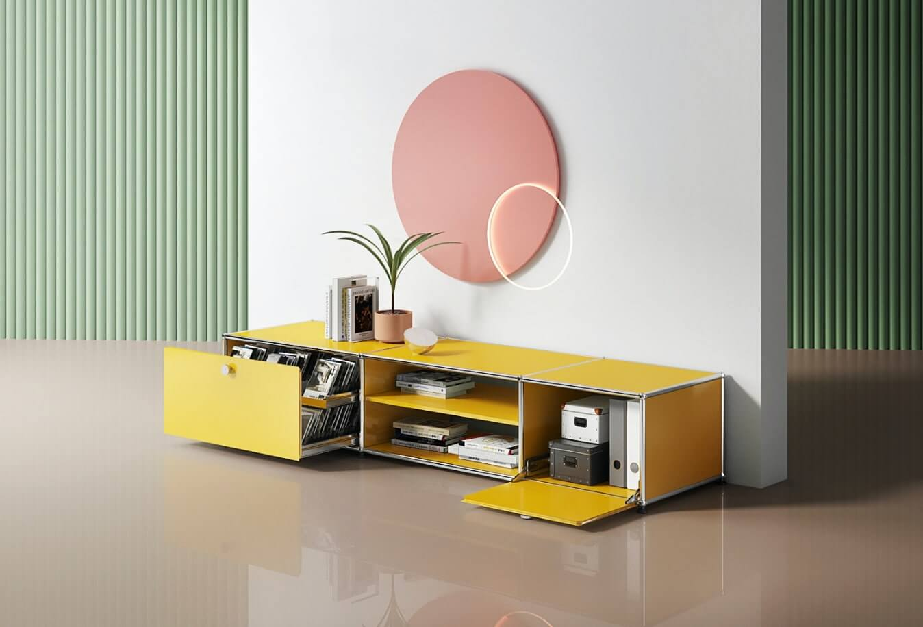 Yellow cabinet by USM