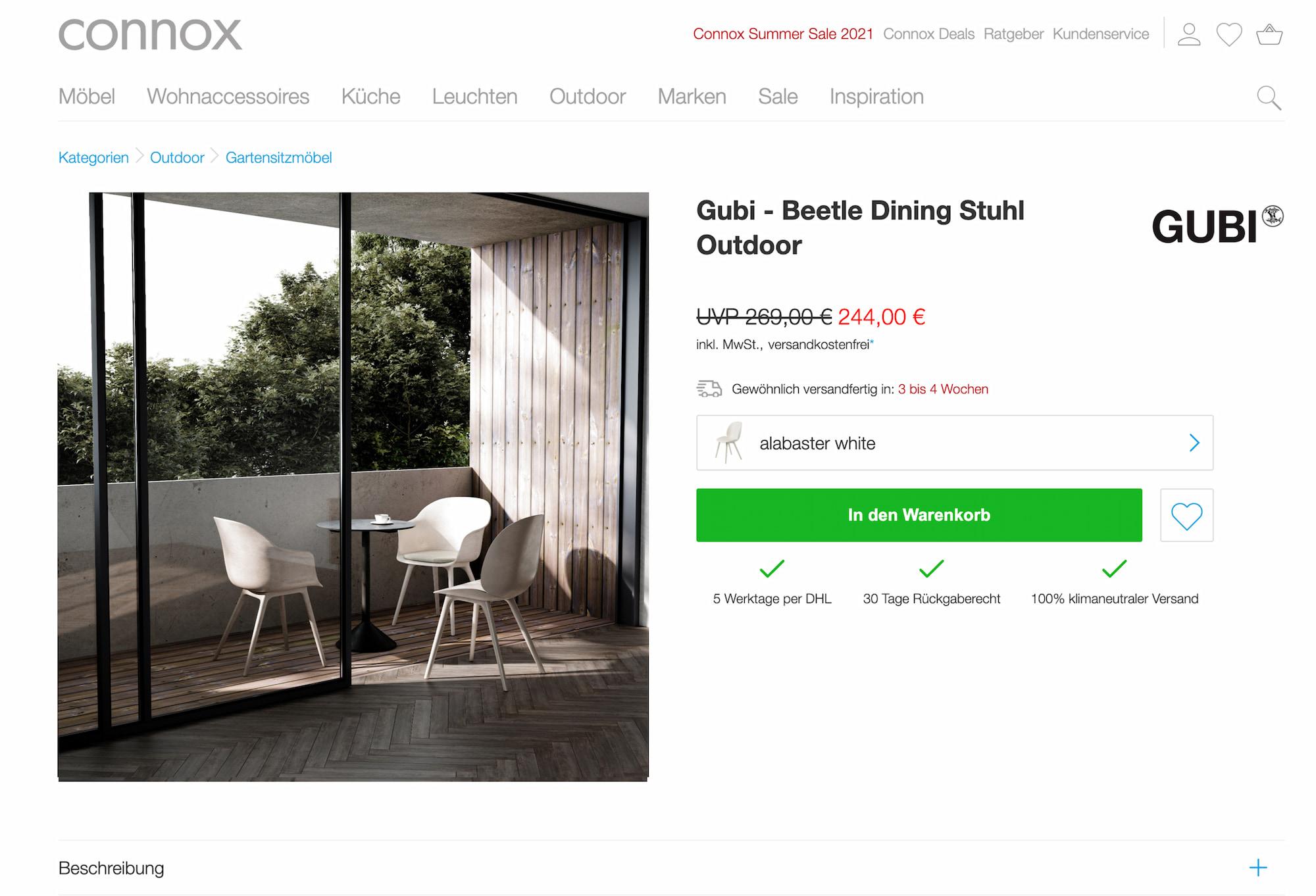 GUBI retailer Connox website