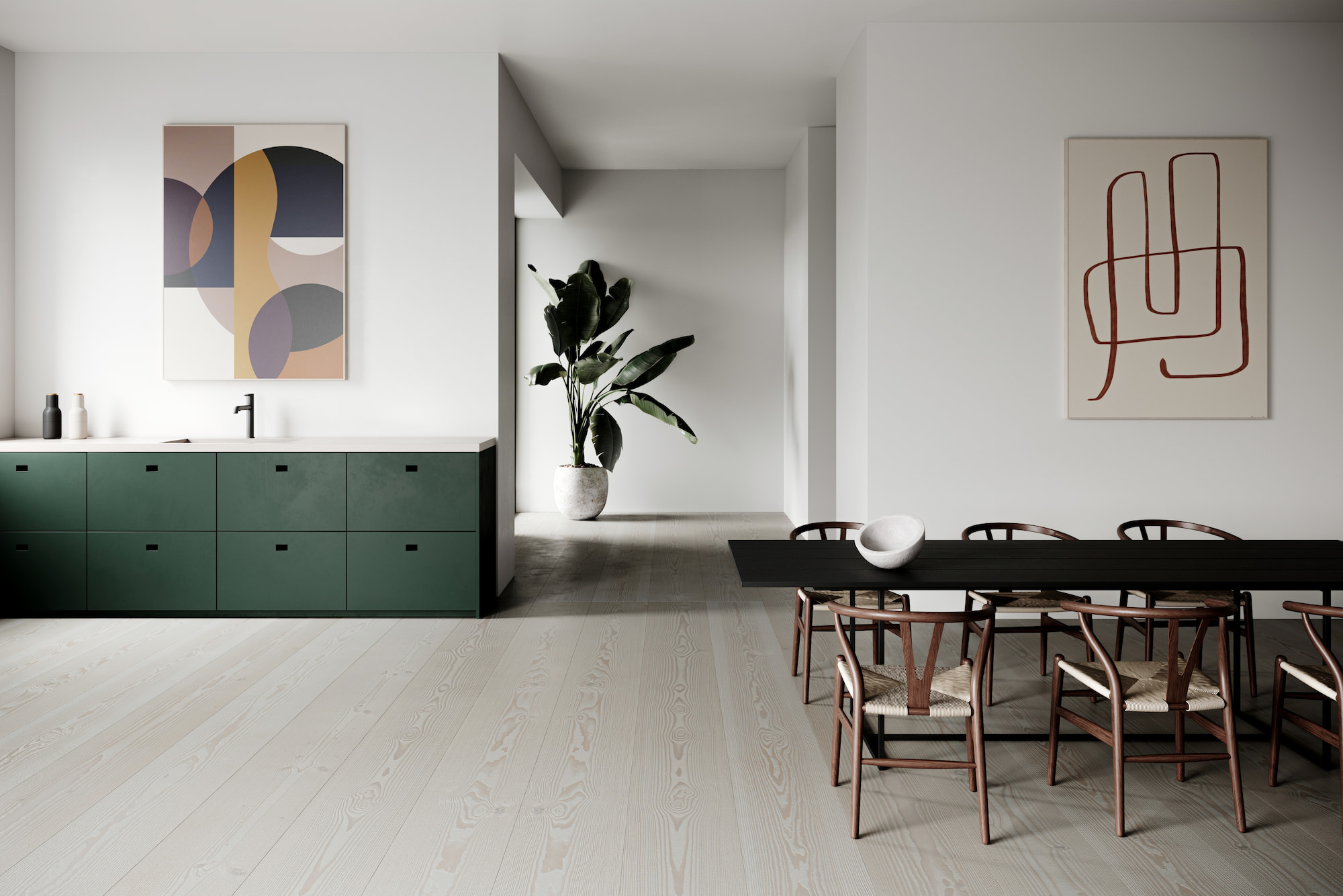 Akuart dining space with cabinet